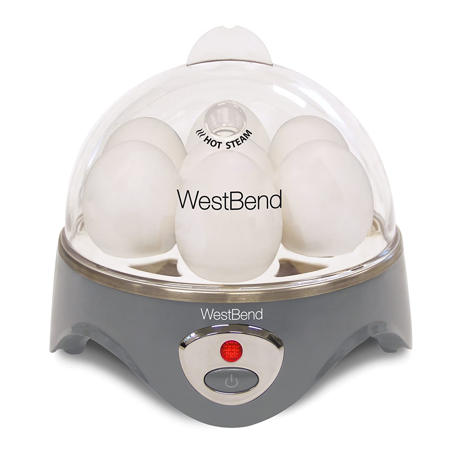 West Bend 87628 Automatic Electric Cooker Hard-or Soft-Cook 7 Eggs or 2 Poached or Scrambled, 360 Watts, Gray