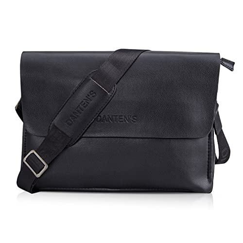 982ccb8ee3b8 Men Messenger Bag, PU Leather Shoulder Bag Satchel Sling Office Business  Bag for Work Travel Office-Horizontal/Vertical [Black]