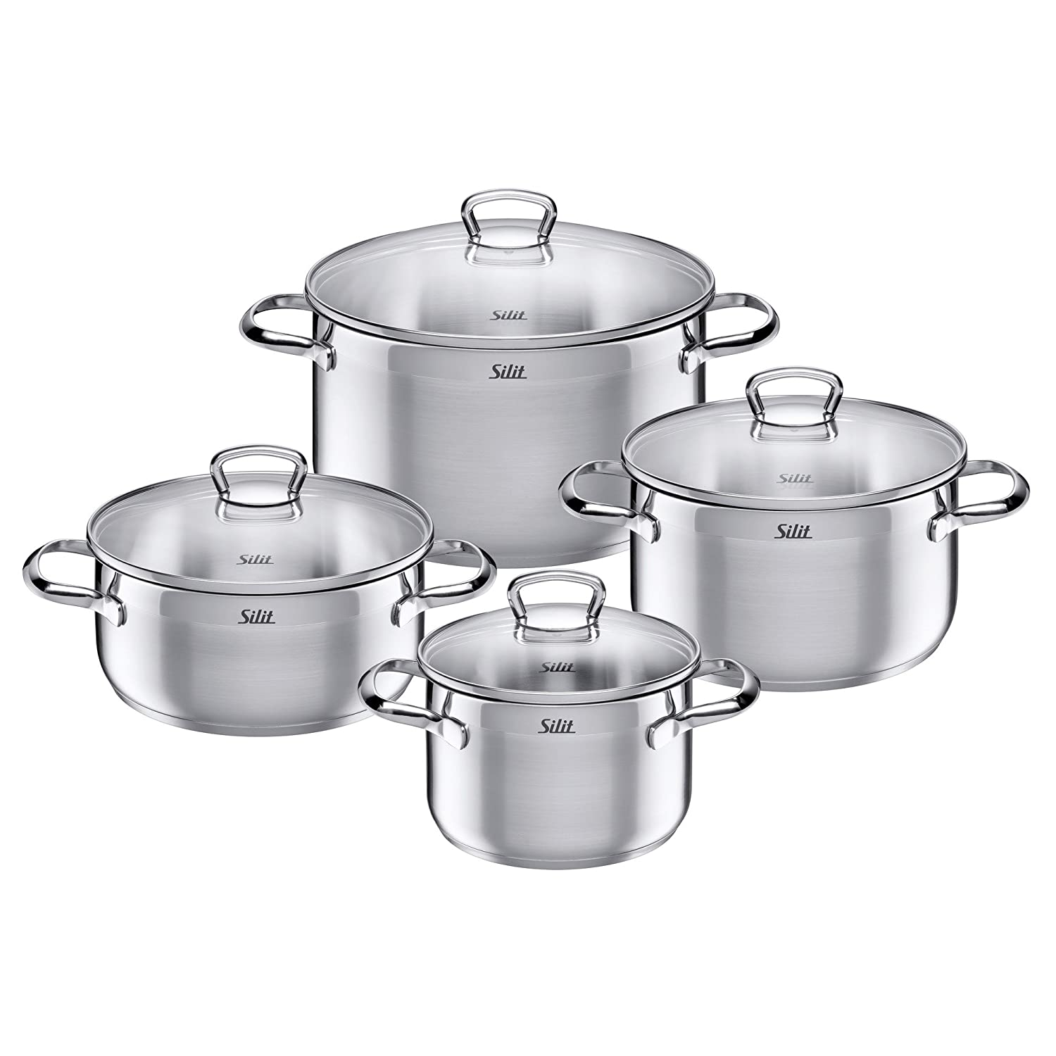 Silit Pot Set 4-Piece Toskana Pouring Rim Glass Lid Stainless Steel Suitable for Induction Hobs Dishwasher-Safe 2109256717
