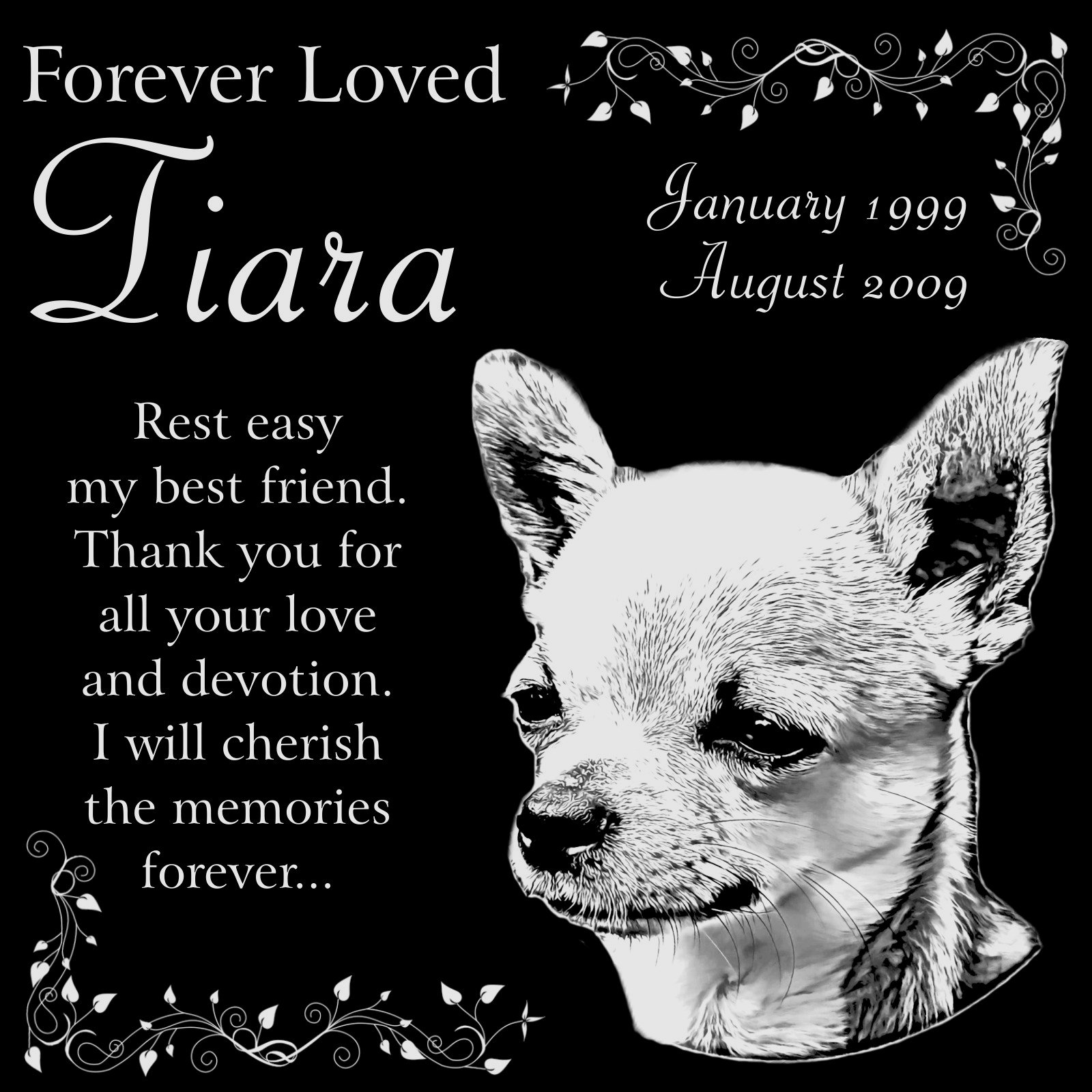 Personalized Chihuahua Dog Pet Memorial 12''x12'' Engraved Black Granite Grave Marker Head Stone Plaque TIA1