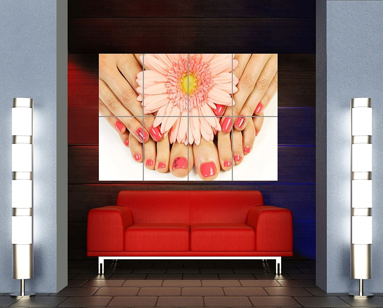 SALON SPA HEALTH BEAUTY NAILS HANDS FEET MANICURE FLOWER GIANT ART POSTER OZ583