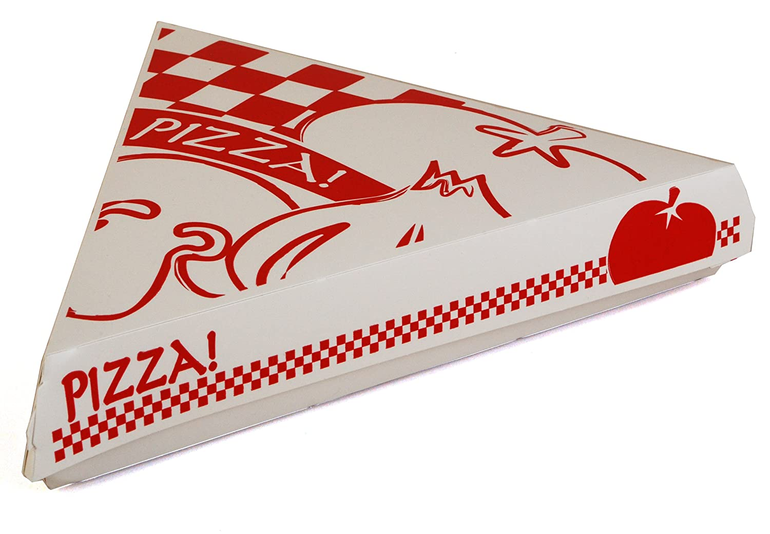 """Southern Champion Tray 07196 Paperboard White Pizza Slice Clamshell Food Container with """"Gourmet Pizza"""" Print, 9-1/4"""" Length x 9"""" Width x 1-11/16"""" Height (Case of 400)"""