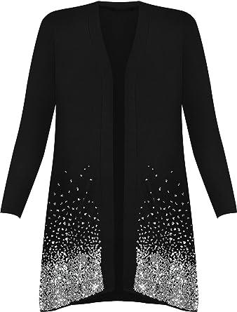 New Plus Size WOMEN/'S Sequin Open Cardigan Long Sleeve Ladies Sparkle Top 12-30
