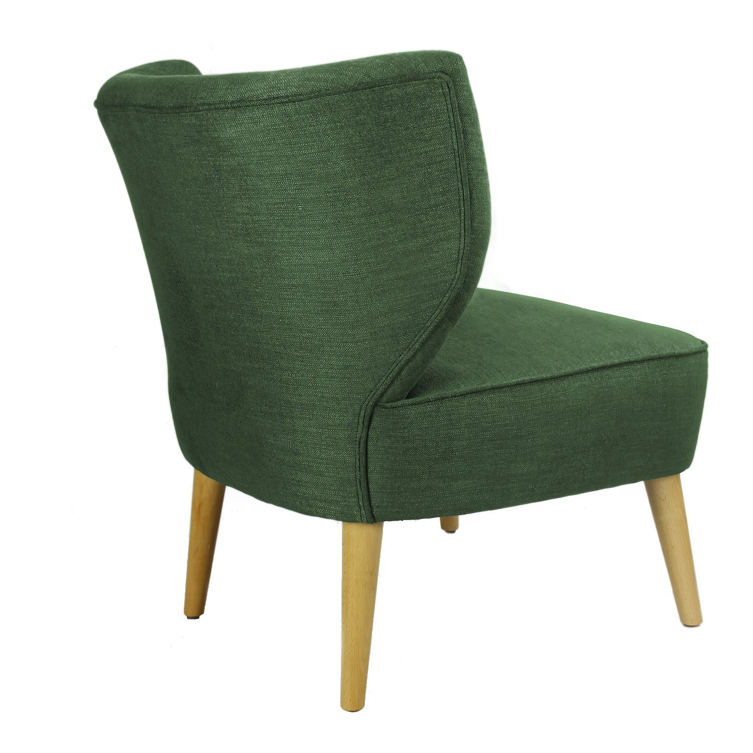 Astounding Asense Solid Color Fabric Mid Century Modern Contemporary Armchair Accent Chair With Wooden Leg Square Seat Green Machost Co Dining Chair Design Ideas Machostcouk
