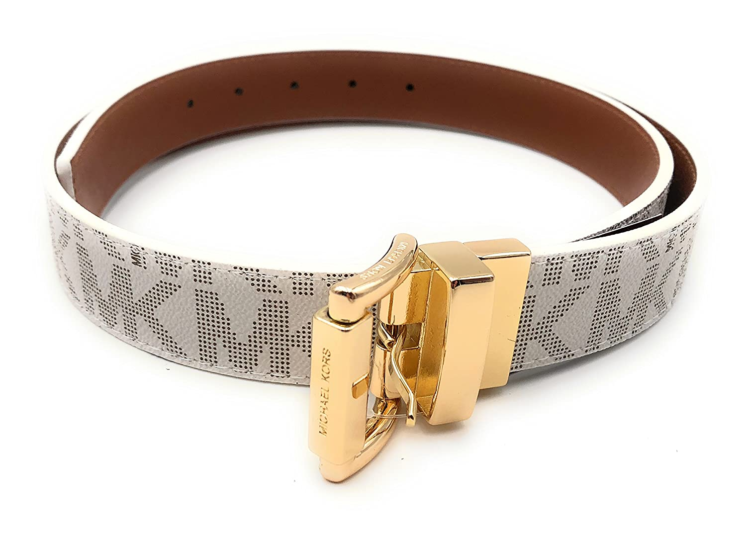 1a294175fda7 Michael Kors Women s Monogram Belt and Gold Buckle Brown White Reversible  Large at Amazon Women s Clothing store