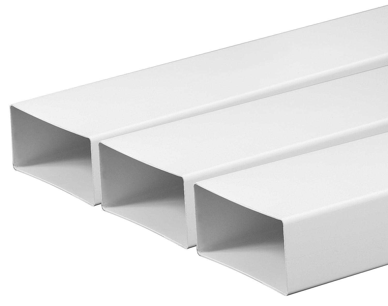 Tuyau d'aération ventilation Canal 55x 110mm Longueur 1m en plastique canaux Plat canaux Tuyau d'évacuation abluft Canal Hotte Hotte Systèmes de Canal Plat 100cm de long en plastique à emboîter Tube