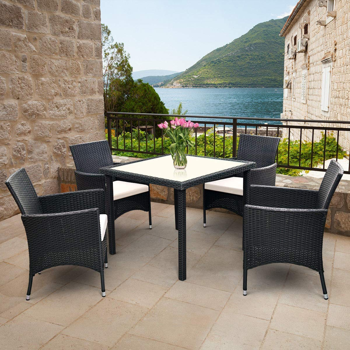 Tangkula 5PCS Patio Wicker Dining Set, Outdoor Lawn Garden Wicker Rattan Table and 4 Chairs, Sofa Furniture Set Cushioned Seat Conversation Set with Removable Cushions & Table Patio Furniture (Black) by Tangkula