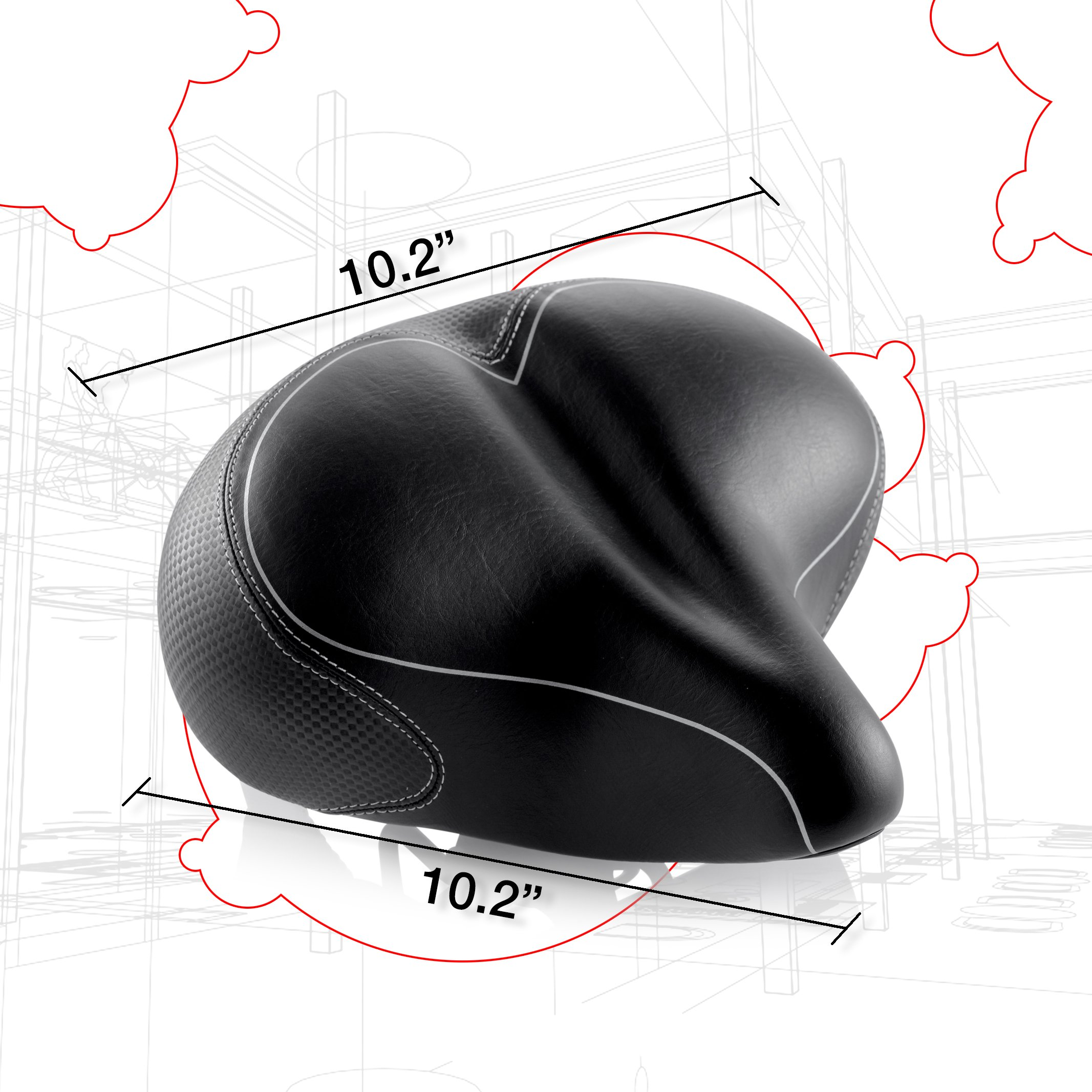 Oversized Comfort Bike Seat Most Comfortable Replacement Bicycle Saddle for Cycling | Universal Fit for Outdoor Exercise Bikes & Indoor Spin Bikes | Wide Soft Padded Bike Saddle For Women and Men by Asani (Image #7)