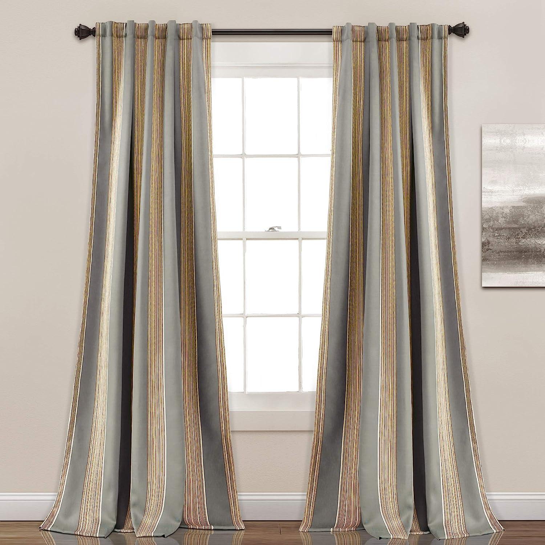 "Lush Decor Julia Stripe Room Darkening Window Curtain Panel Pair, 84"" x 52"", Gray"