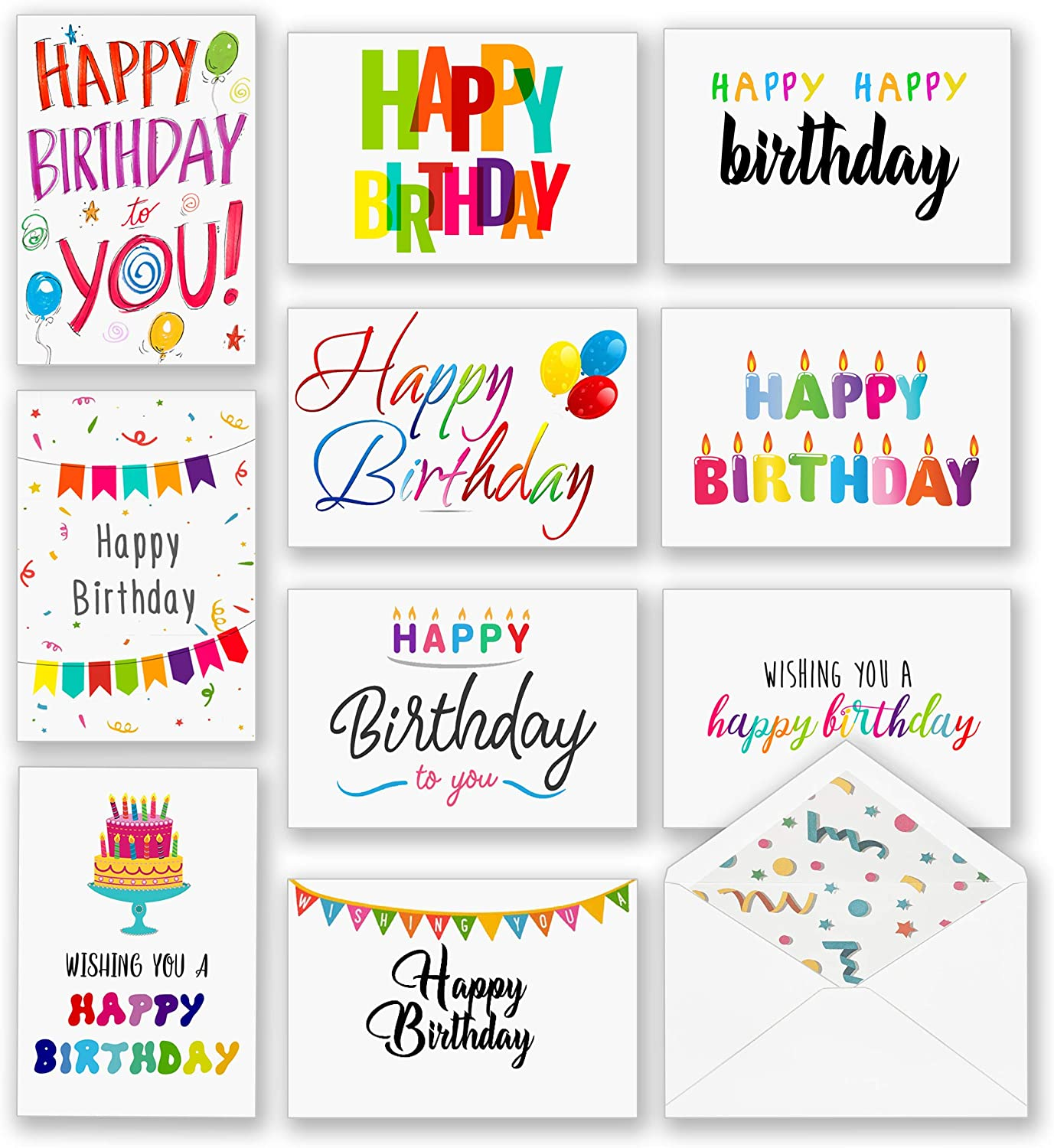 100 Happy Birthday Cards, Large Assorted Greeting Notes with Envelopes and Stickers, 10 Unique Designs, 5x7 Inch, Thick Card Stock Bulk Box Set, Blank Inside