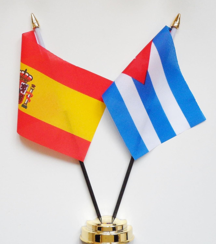 España y Cuba amistad Bandera de mesa pantalla 25 cm (10
