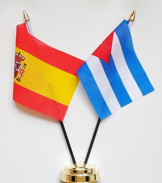 España y Cuba amistad Bandera de mesa pantalla 25 cm (10 ...