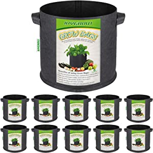 IVYGROW 10-Pack 5 Gallon Grow Bags for Gardening, Heavy Duty Nonwoven Aeration Planting Bags, Universal Fabric Pots with Sturdy Handles