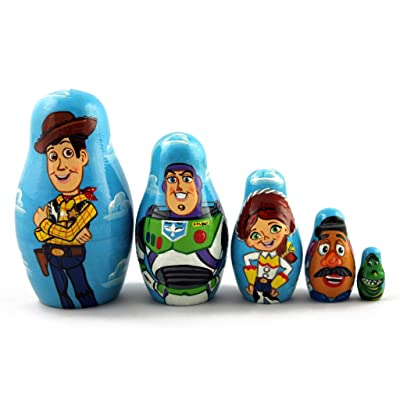Matryoshka Matrioska Babuska Russian Nesting Wooden Doll Toy Story Matryoshika Babushka 5 Pcs Stacking Hand Painting Beautiful Nested Craft Matriosjka Matrioska Matreshka Matrjoska Matroeska: Toys & Games