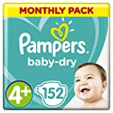 Pampers Baby-Dry Size 4+, 152 Nappies, 10-15 kg, Air Channels for Breathable Dryness Overnight, Monthly Pack