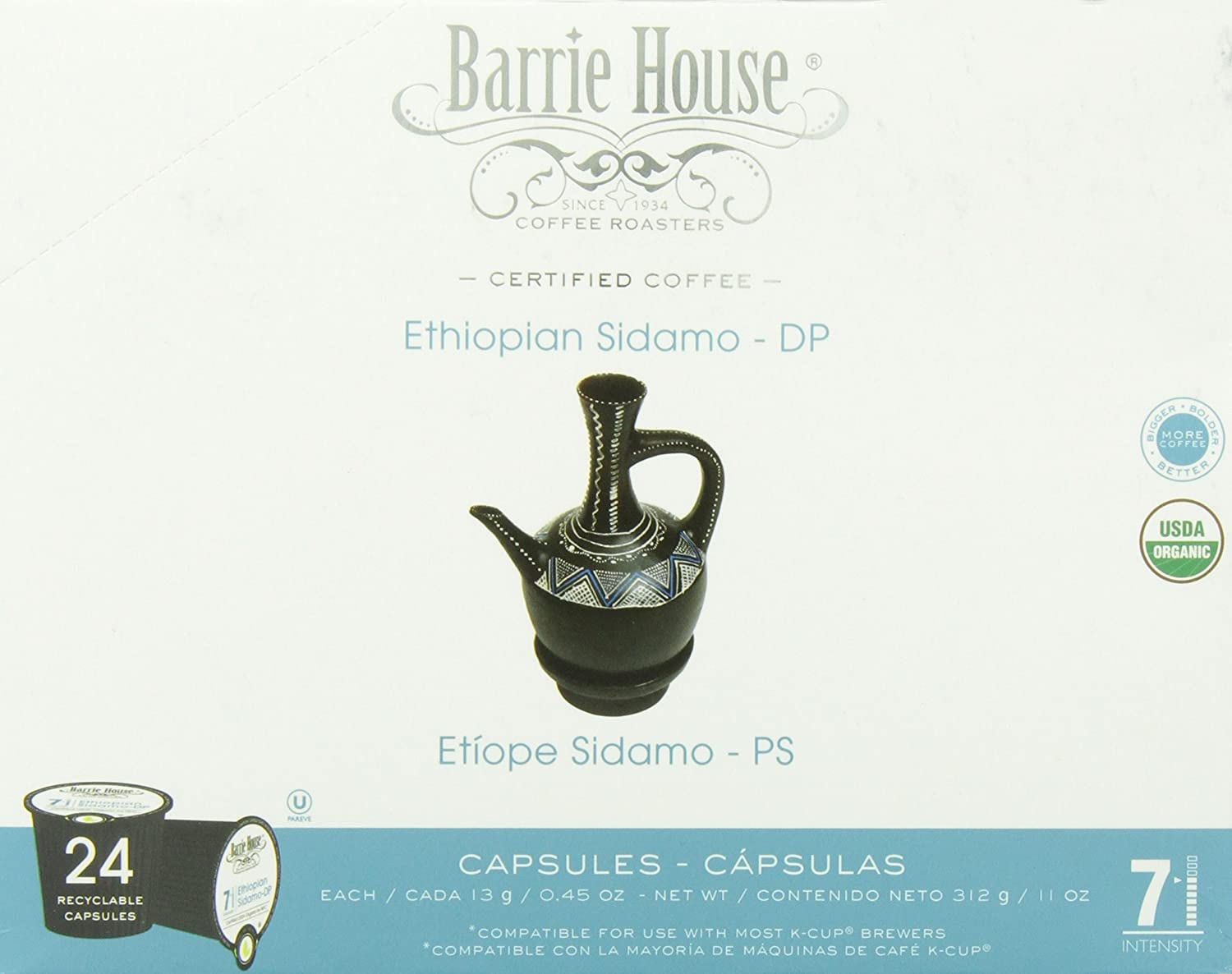 Amazon.com : Barrie House Coffee Roasters Organic Ethiopian Sidamo, Single Cup Capsules, 24 Count : Grocery & Gourmet Food
