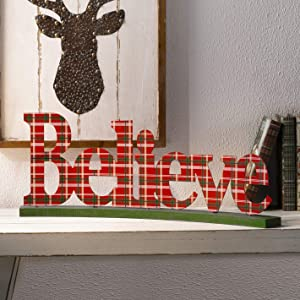 Glitzhome Believe Christmas Centerpiece Decor 23.82 Inches Metal Christmas Tabletop Display Decorative Word Sign Rustic Christmas Decor for Table Fireplace Mantel Perfect Cutout Word Sign