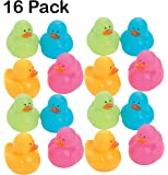 Mini Colorful Rubber Duckies 1.25 Inches - Pack Of 16 - Assorted Colors Cool And Cute Rubber Ducks - For Kids Great Party Favors, Bag Stuffers, Fun, Toy, Gift, Prize - By Kidsco