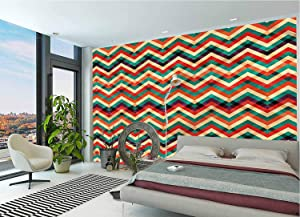 LCGGDB Chevron Wall Stickers Murals,Funky Vibrant and Artistic Paperhanging Wallpaper for Office Livingroom Girls Bedroom Family Wall Decals-118x83 Inch