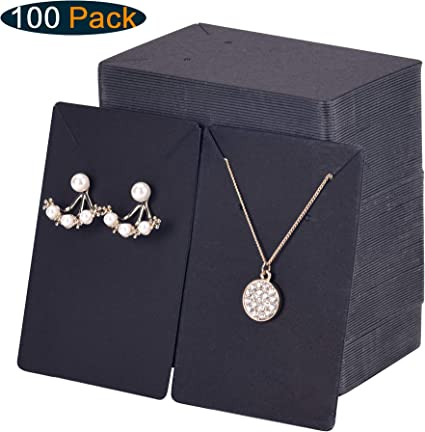 Hanging Earring Cards for Earrings and Necklace Kraft Paper Necklace Display Cards and Earring Card Holder 100 Pack Earring Cards+200 Pcs Self-Sealing Bags