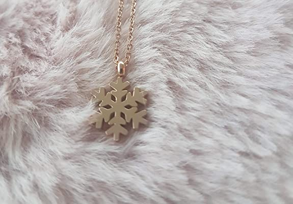 Teens Christmas Jewelry Gift for Women Girls Rose Gold Snowflake Pendant Necklace Girlfriend Comes in a Beautiful Package. Wife Friend Men