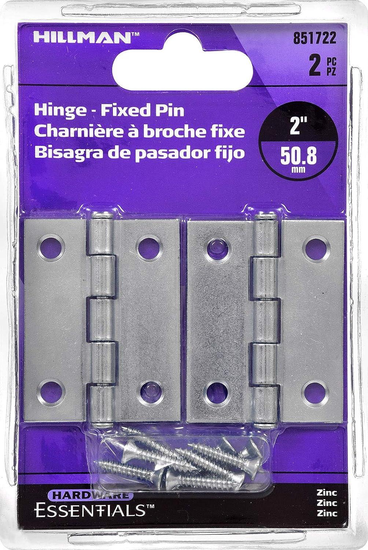 Hillman Hardware Essentials 851722 Light Narrow Door Hinges and Fixed Pin Zinc 2-2 pack