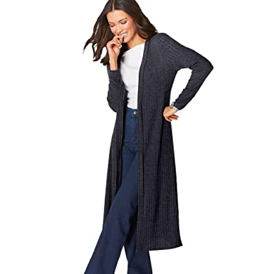 3bb4bd2af19 VENCA Women s Long Jacket Soft Knitted Elastic Ribbed with Side Openings -  105452  Amazon.co.uk  Clothing