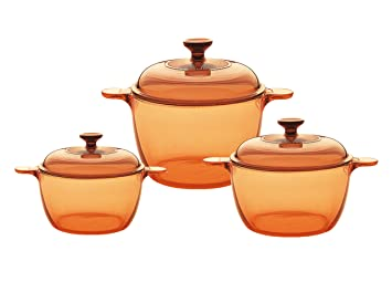 Visions Pyroceram Cook Pot Set de Fundas de Cristal, Color marrón: Amazon.es: Hogar