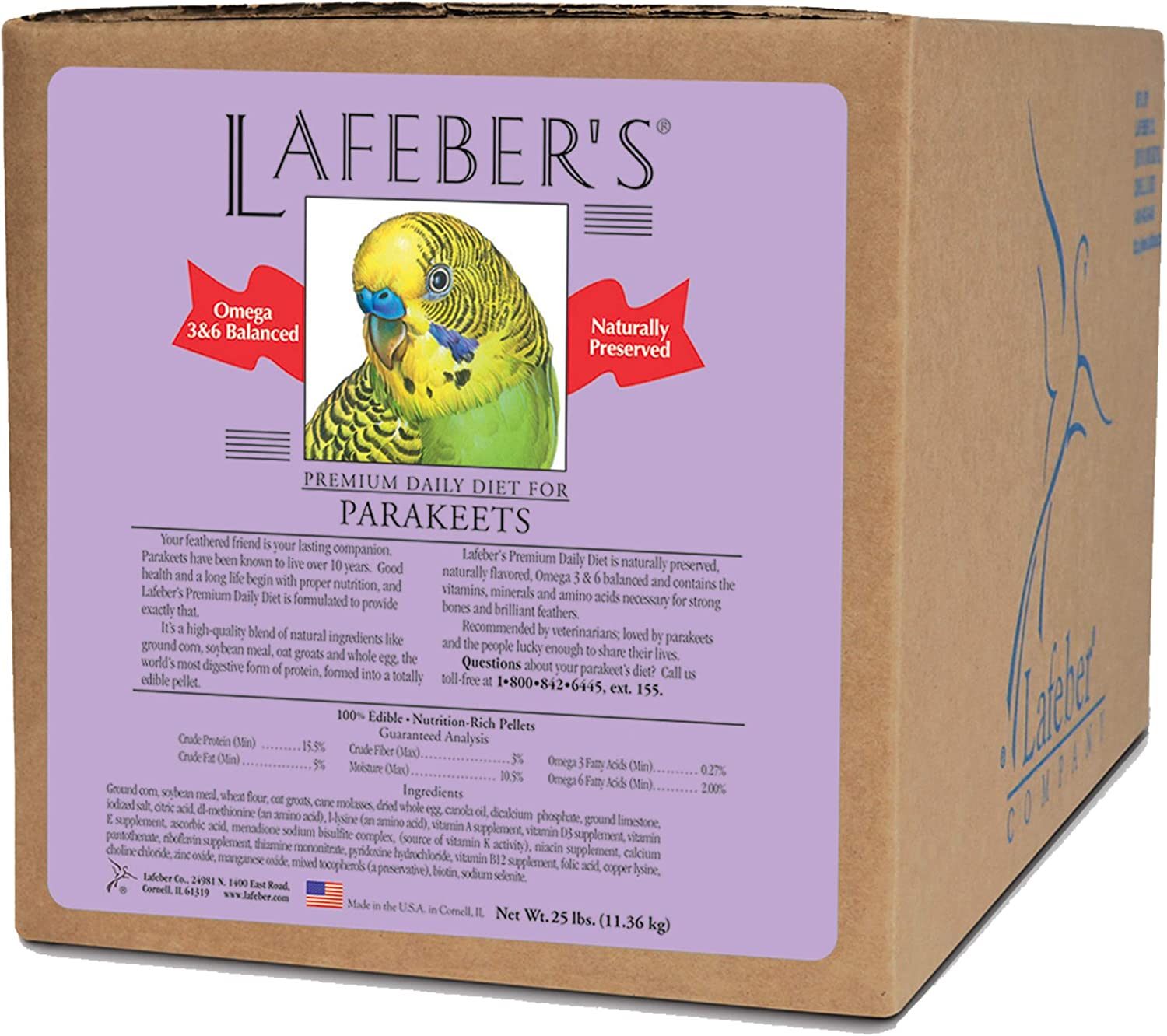 LAFEBER'S Premium Daily Diet or Gourmet Fruit Pellets Pet Bird Food, Made with Non-GMO and Human-Grade Ingredients, for Parakeets