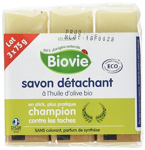 biovie Pack de 3 jabones – Quitamanchas 100% natural con aceite de oliva ecológico 75