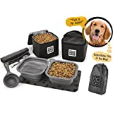 Dog Travel Food Set For Medium + Large Dogs - 7 Pieces Including Collapsible Bowls, Carriers, Scooper, Place Mat, Bag