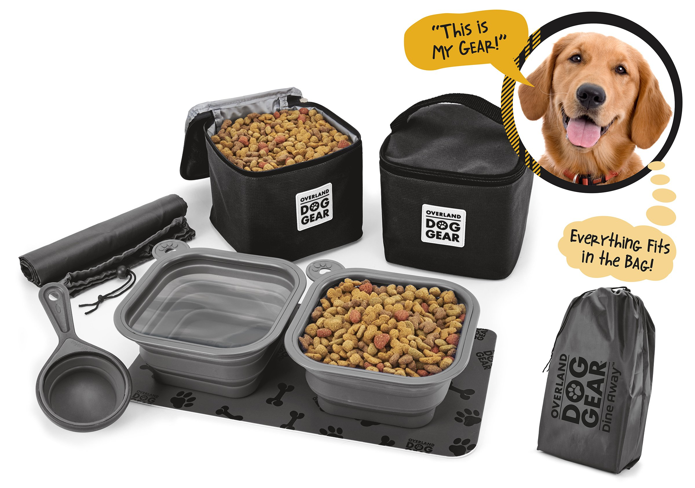 Dog Travel Food Set For Medium + Large Dogs (Black) - 7 Pieces Including Collapsible Bowls, Carriers, Scooper, Place Mat, Bag by Overland Dog Gear