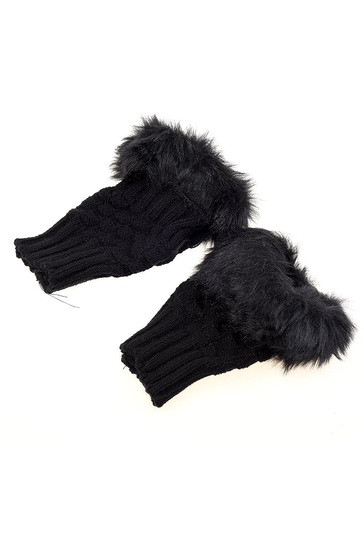 SODIAL (R) Donna ragazza guanti in pelliccia falsa soffici pelosi a maglia / Scaldamuscoli Stivali Copertine Guanti - nero SODIAL(R)