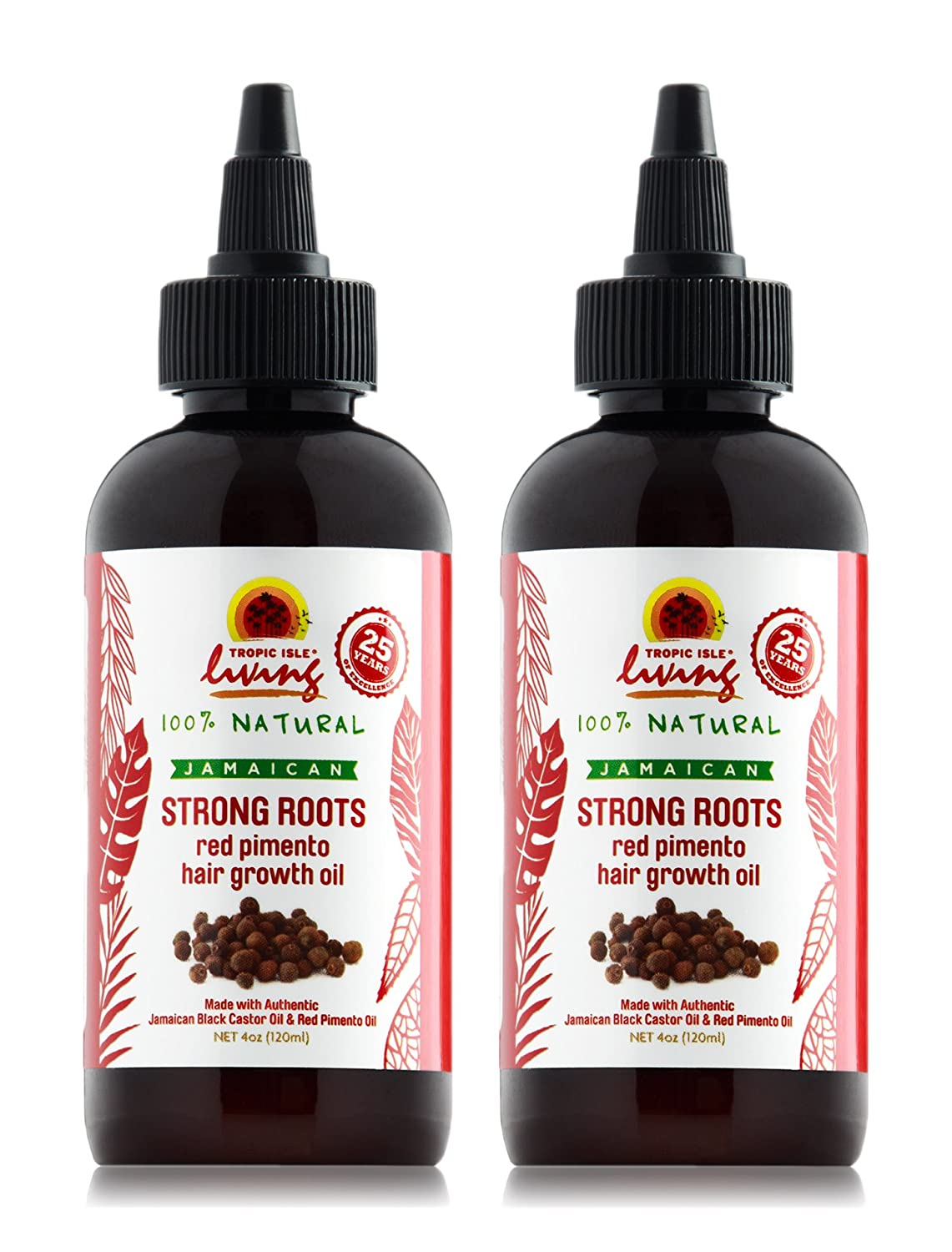 Tropic Isle Living Jamaican Strong Roots Red Pimento Hair Growth Oil, 4 oz (Pack of 2) TILJSRRPHGOPK2001