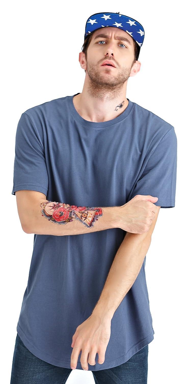Bertte Mens Hipster Hip Hop Basic Elong Longline T-Shirt