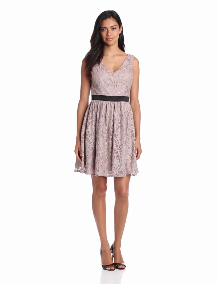 Hailey by Adrianna Papell Womens V Neck Lace Fit N Flare Dress, Taupe, 10