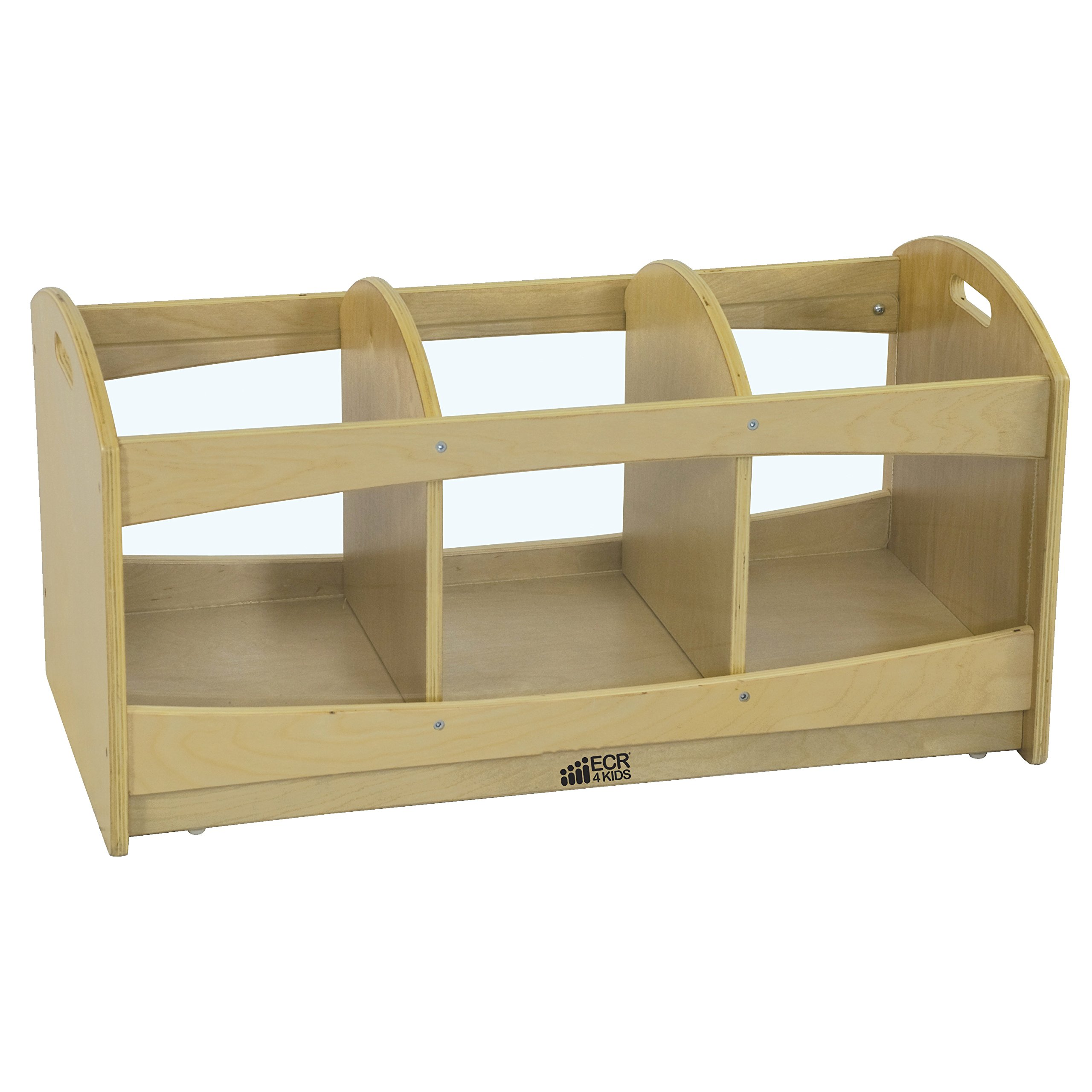ECR4Kids Birch Play See Through 3 Compartment Storage Unit with Casters, Natural, 16'' H