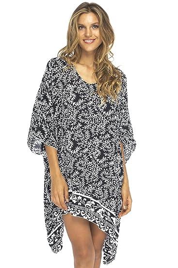 Custom Pattern Lightweight Rayon Poncho Kaftan Swimsuit Cover Up Tunic