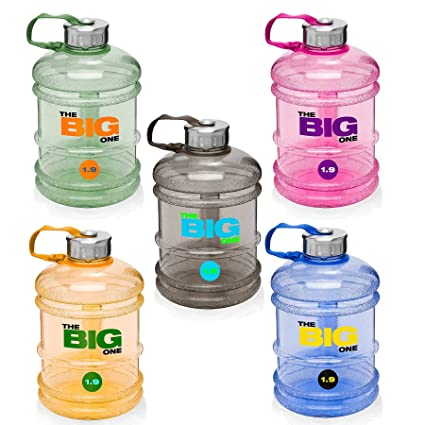 Botella deportiva de 1,9 litros »TheBigOne« de Tritan (inodoro). Botella deportiva ideal / recipiente de agua para la ingesta de líquidos durante el ...