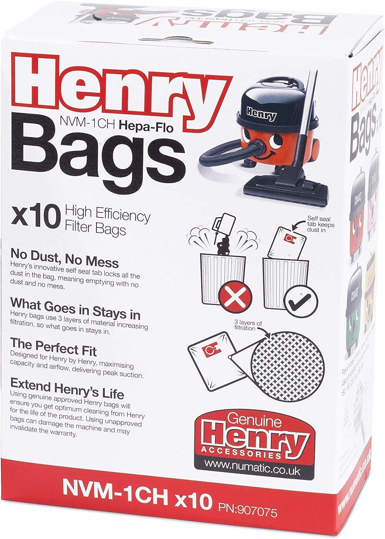 Henry NVM-1CH/907075 HepaFlo - Bolsas de vacío (10 unidades), color blanco: Amazon.es: Hogar
