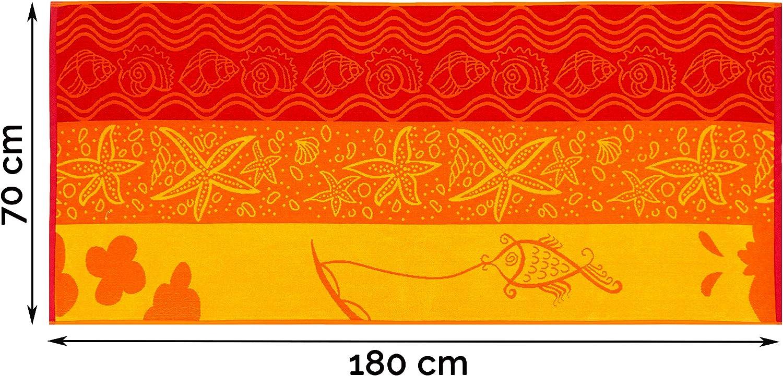 70x180 cm Orange Jaune Rouge ZOLLNER Serviette de Plage Coquille Coton