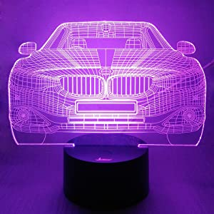 Loveboat USB Powered 7 Colors Amazing Optical Illusion 3D Glow LED Lamp Art Sculpture Lights Produces Unique Lighting Effects and 3D Visualization for Home Decor (Cool Car)