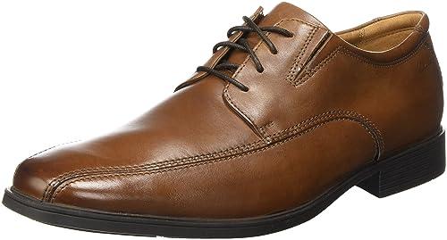 Clarks Tilden Plain - Zapatos con Cordones de Cuero Hombre, Color Marrón, Talla 44