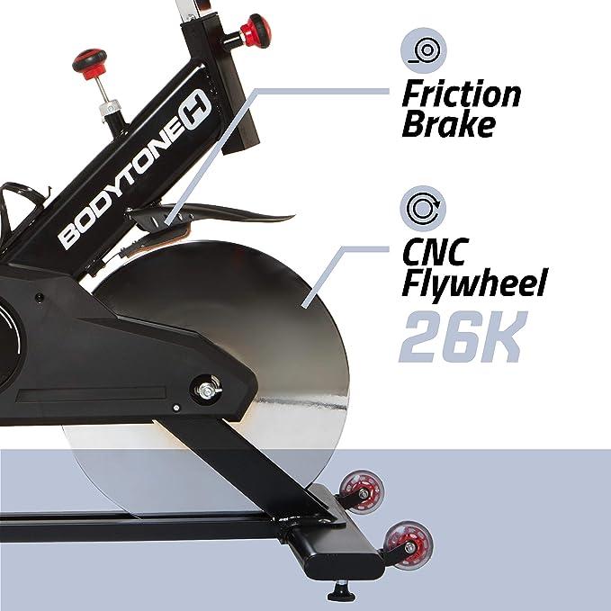 BT BODYTONE - DS-45 - Bicicleta de Spinning o Ciclo Indoor para Fitness y Spinning - Rueda de inercia de 26kg - Conectividad con Zwift y Bkool- Peso Máximo Usuario 130 KG.: