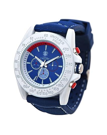 Relojes Calgary San Marine, Reloj Deportivo para Mujer, Correa Azul de Silicona, Esfera Blanca: Amazon.es: Zapatos y complementos