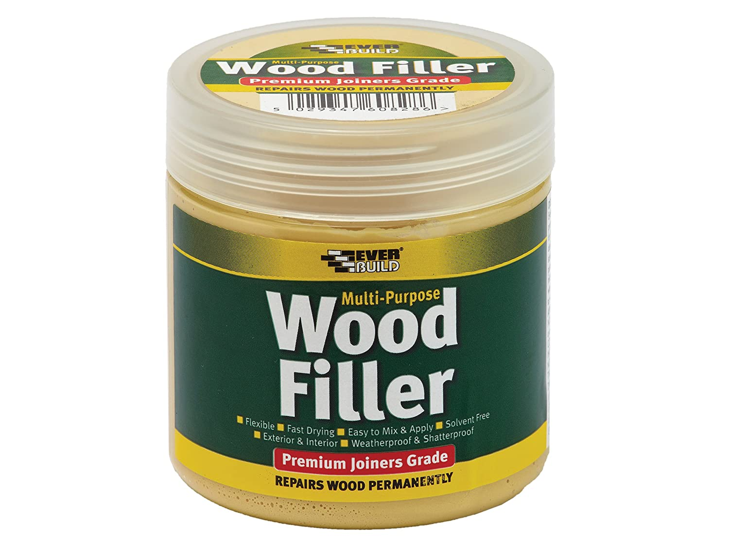 Multi purpose premium joiners grade wood filler - Filling small imperfections in wood - 250ml - Light Oak Everbuild MPWOODLTOAK2-EBD