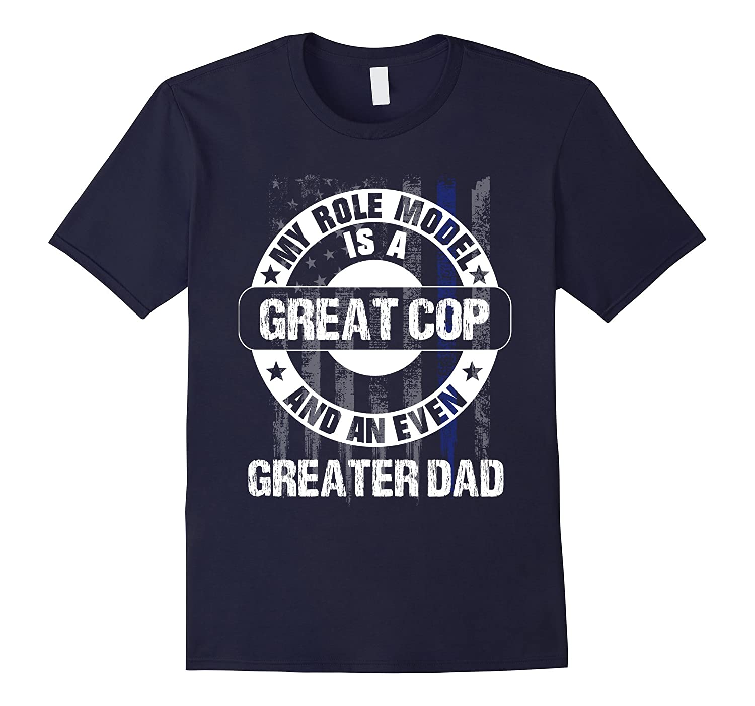 Police Officer Dad Thin Blue Line American Flag tee-TH