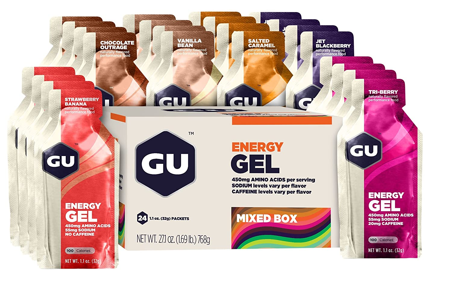 GU Original Sports Nutrition Energy Gel, Assorted Flavors, 24-Count