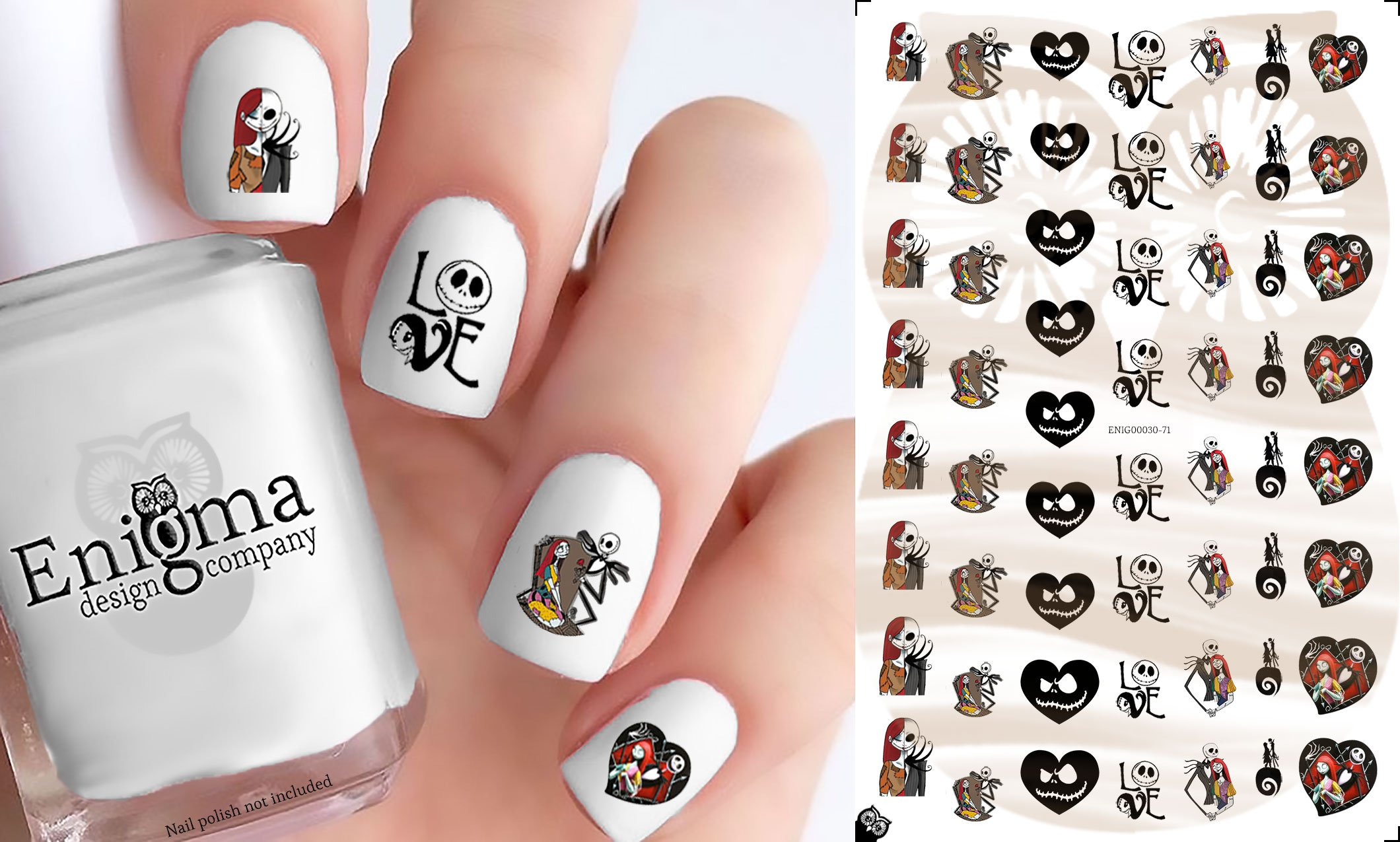 Amazon Nightmare Before Christmas Santa Jack Nail Art Decals