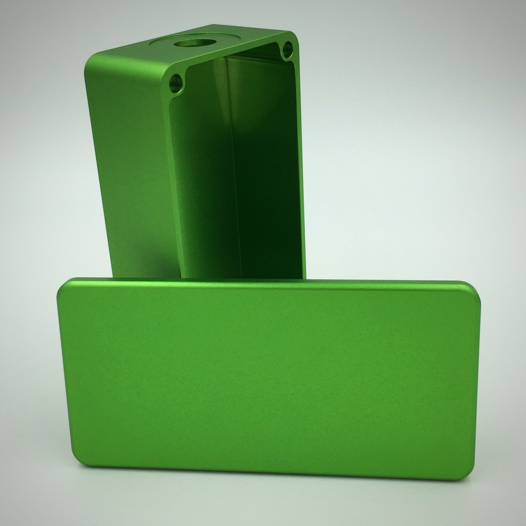 "BMG Mods ""1590g Tall"" CNC Milled Anodized Aluminum 18650 Battery Enclosure: Green (Satin Finish)"